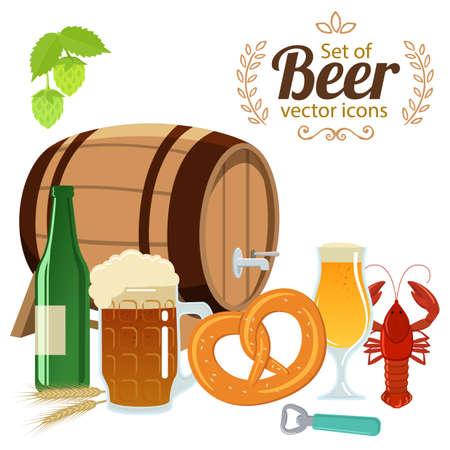 Set of beer glasses, bottle and snack. Vector stock illustration. Illustration