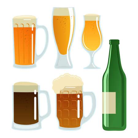 Set of beer glasses and bottle. Vector stock illustration. Illustration