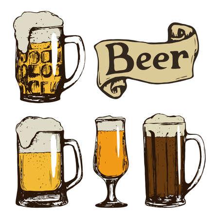 vasos de cerveza: Conjunto de vasos de cerveza. Dibujado a mano ilustración de la vendimia. Vector. Vectores