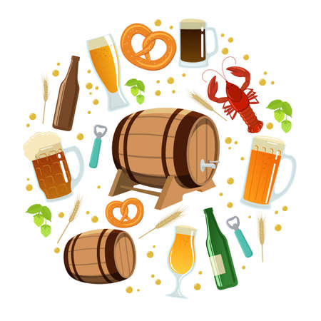rye: Set of colorful beer icons in circle shape background. Template for packaging, cards, posters and drinks menu. Vector stock illustration. Illustration
