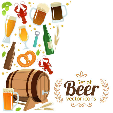side menu: Side vertical border with colorful beer icons. Template for packaging, cards, posters, menu. Vector stock illustration.