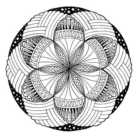 Dibujo A Mano De Mandala, Ronda Adorno Floral. Patrón De Libro Para ...