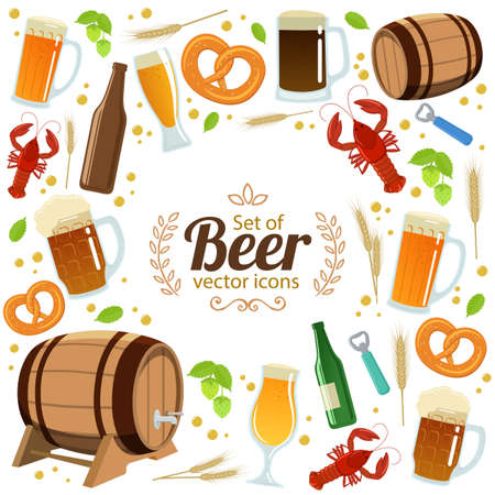 Round frame with colorful beer icons. Template for packaging, cards, posters, menu. Vector stock illustration. Vetores