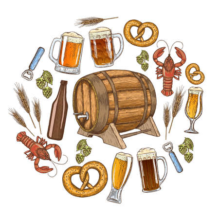 crawfish: Set of colorful beer icons in circle shape background. Template for packaging, cards, posters and drinks menu. Vector stock illustration. Illustration