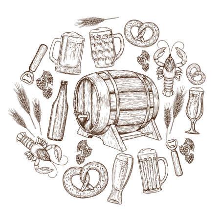 Bier Nahtlose Horizontale Grenze. Bier-Zeichnung Für Pub Oder Bar ...