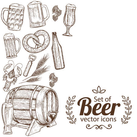 side menu: Side vertical border with sketch vintage beer icons. Template for packaging, cards, posters, menu. Vector stock illustration.