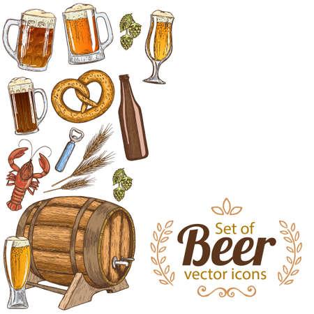 side menu: Side vertical border with colorful sketch vintage beer icons. Template for packaging, cards, posters, menu. Vector stock illustration. Illustration