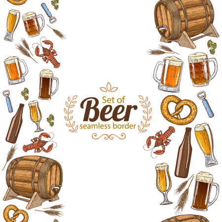 crawfish: Vertical seamless borders of colorful sketch vintage beer icons. Vector stock illustration.