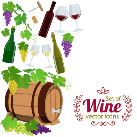 Side vertical border with wine icons. Template for packaging, cards, posters, menu. stock illustration.