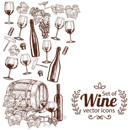 side border: Side vertical border with sketch wine icons. Template for packaging, cards, posters, menu. stock illustration.