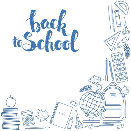 Corner frame of colorful items for education. Back to school  lettering. stock illustration.
