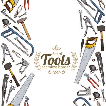 Vertical seamless borders of repair tools icons. stock illustration.