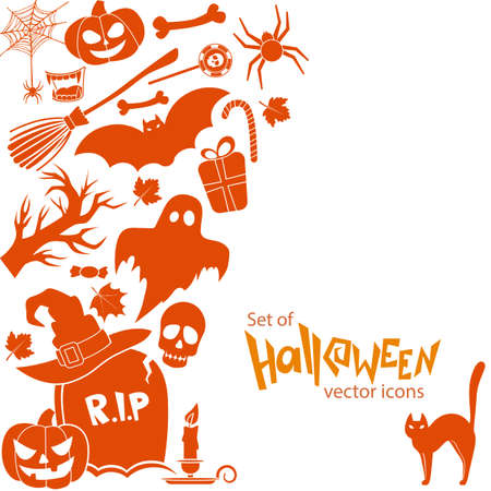 Side vertical border with Halloween icons. Template for packaging, cards, posters, menu. stock illustration. Illustration