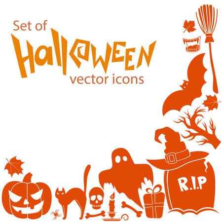 Corner frame of Halloween icons isolated on white background. Vector stock illustration.
