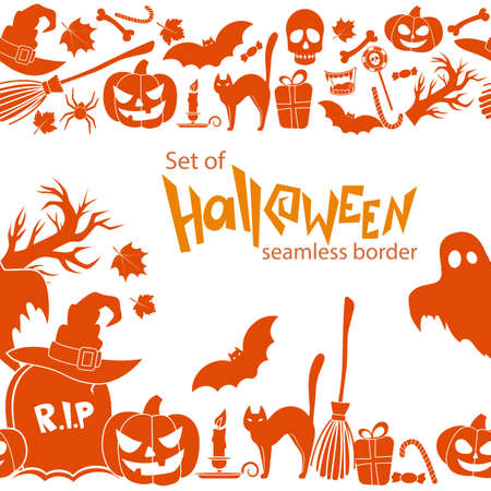 Seamless horizontal borders of Halloween icons on a white background. Vector stock illustration.