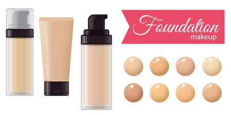 Set of foundation cream for mackeup and color palette. Vector stock illustration.