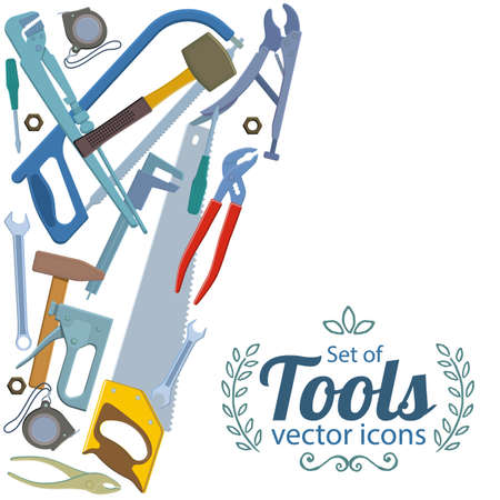 tool clipart border. carpenter tool border side vertical with repair tools icons template for packaging clipart