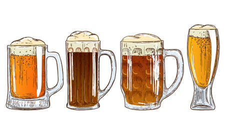 Set of mugs of beer. Colorful sketch of beer illustration. Vector.