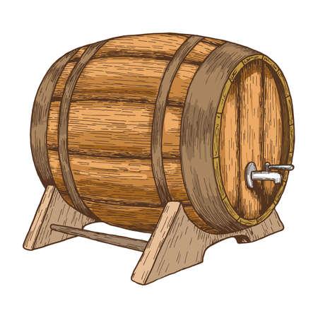 Beer barrel on white background. Colorful sketch of barrel with beer. Vintage style illustration of wooden barrel. Hand drawing of beer barrel. Vector.