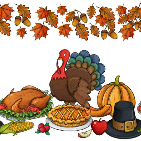 Seamless Horizontal Border With Colorful Thanksgiving Icons Day Greeting Card Vintage Food