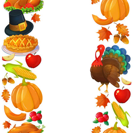 Vertical seamless borders with Thanksgiving icons. Colorful illustration of Thanksgiving day greeting card. Traditional Thanksgiving food, leaves and turkey. Thanksgiving Day background for decoration. Vector.