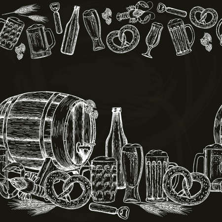 Beer seamless horizontal border.  Beer drawing for pub or bar menu. Vector. Ilustração