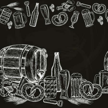 Beer seamless horizontal border.  Beer drawing for pub or bar menu. Vector. Vettoriali