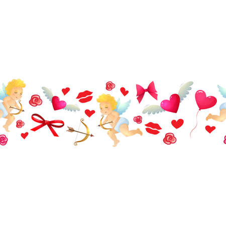 Colorful cartoon horizontal border with Valentines Day icons. Vector.