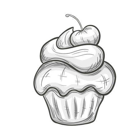 chocolate swirl: Monochrome sketch style illustration of cupcake with cream on white background. Vector.