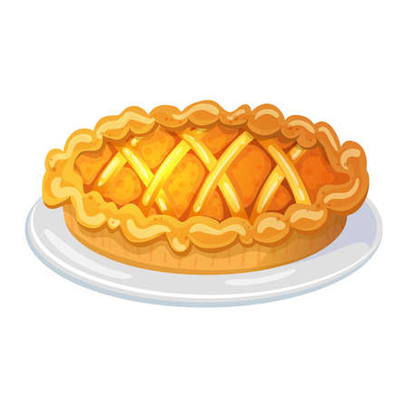 Colorful cartoon illustration of pie, traditional christmas and thanksgiving food. Vector.