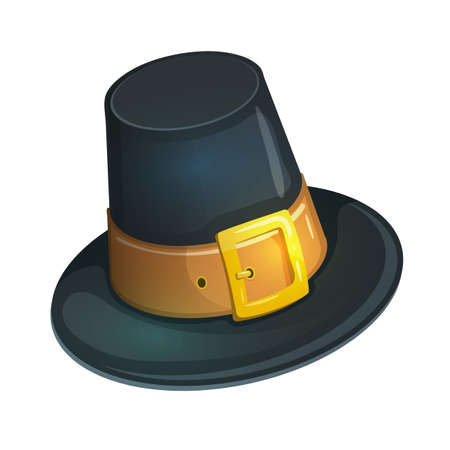 thanksgiving day symbol: Colorful cartoon illustration of pilgrim hat with buckle, Thanksgiving Day symbol. Vector.