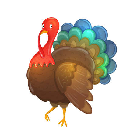 Colorful cartoon illustration of turkey, traditional thanksgiving symbol. Vector.