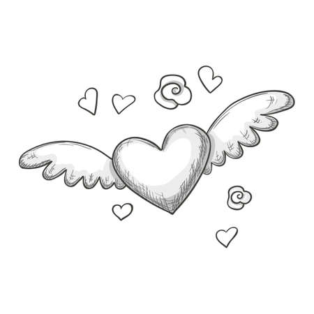 Monochrome Sketch Style Illustration Of Heart With Wings Symbol