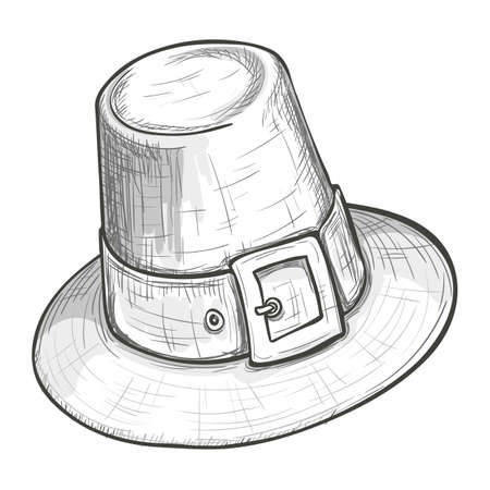 Monochrome sketch style illustration of pilgrim hat with buckle, Thanksgiving Day symbol. Vector.