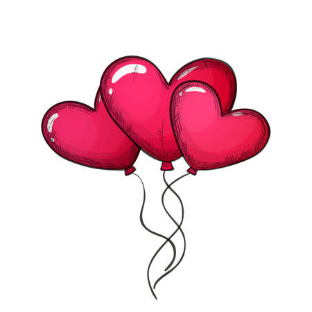 Colorful sketch style illustration of heart shaped balloons on white background, symbol of love and Valentines Day. Vector.