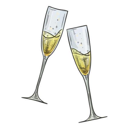 Un'illustrazione variopinta di stile di schizzo di due vetri di champagne su fondo bianco. Vettore.