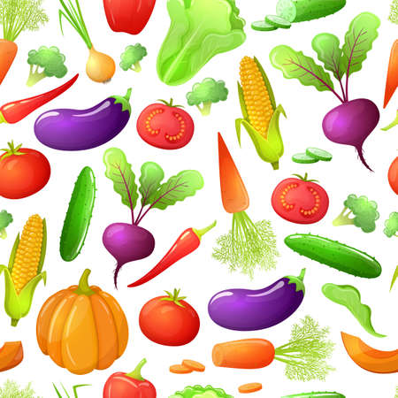 Colorful cartoon style seamless pattern of vegetables . Eco organic fresh template with vegetables for the decoration of menu. Vector. Illustration