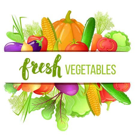 Colorido conjunto de dibujos animados de iconos de verduras. Eco plantilla fresca orgánica con verduras para la decoración de menú. Vector.
