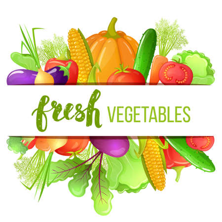 Colorful cartoon set of vegetables icons. Eco organic fresh template with vegetables for the decoration of menu. Vector.