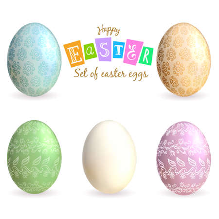 Set of decorated Easter eggs isolated. Vector
