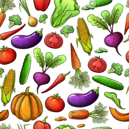Colorful sketch style seamless pattern of vegetables vector.
