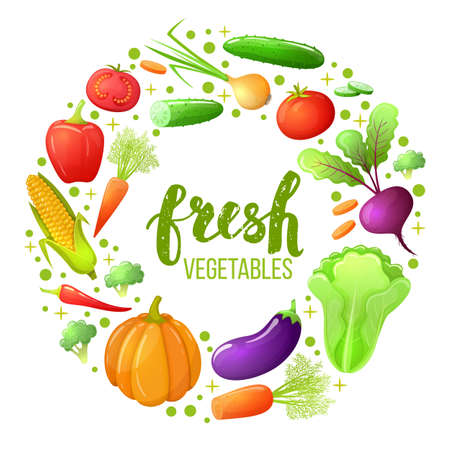 Colorful sketch style set of vegetables icons. Eco organic fresh template with vegetables for the decoration of menu. Vector. Illustration
