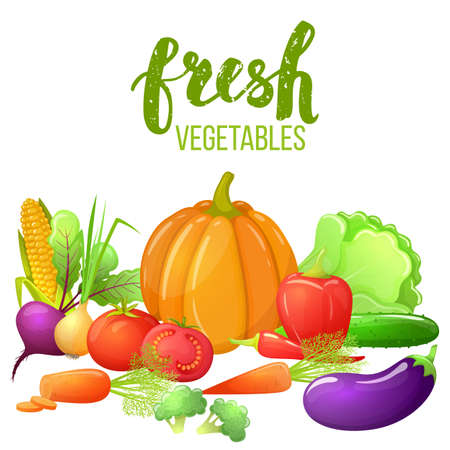 Set of colorful cartoon vegetables with pumpkin, corn, tomato, pepper, eggplant, beetroot. Fresh vegetarian natural food. Vector. Illustration