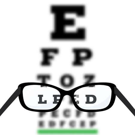 目の視力テスト、スネレンアイチャート テストで診断視力近視。メガネでの視力矯正です。ベクトル。  イラスト・ベクター素材