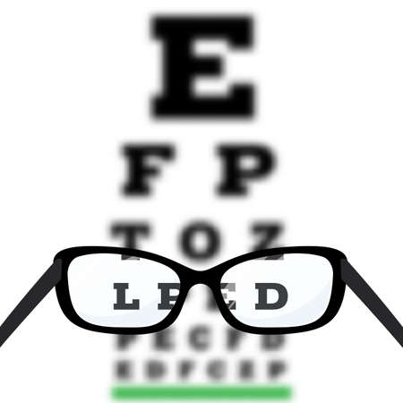 Eye vision test, poor eyesight myopia diagnostic on Snellen eye test chart. Vision correction with glasses. Vector. Vectores