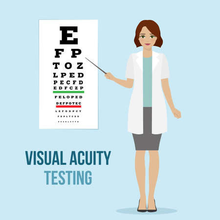 Eye vision test at an ophthalmologist, eyesight acuity diagnostic for medical board. Vector.