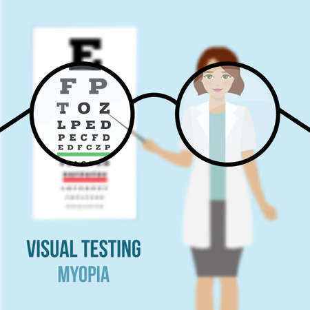 optician: Eye vision test at an ophthalmologist, eyesight acuity exam diagnostic of myopia. Vision correction with glasses. Vector.