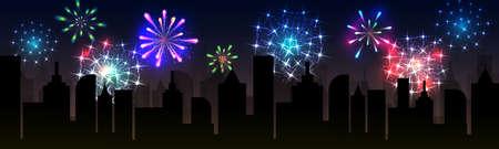 Feuerwerke über der Nachtstadt, panoramisches Stadtbild. Vektor