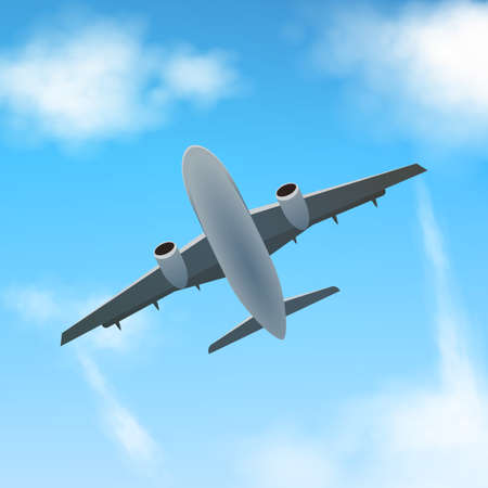 Plane flies high in the clouds, bottom view. A realistic aircraft and clouds. Vector. Illustration