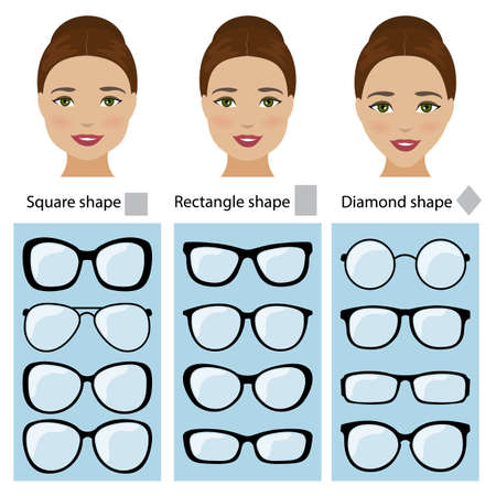 Spectacle frames shapes for different types of women face shapes. Face types as square, diamond, rectangle. Vector Stock Vector - 77696582